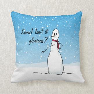 Le bonhomme de neige parlant aime la neige coussin