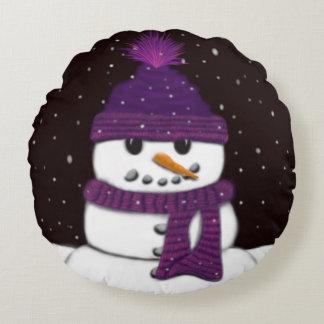 Le bonhomme de neige sans bras coussins ronds