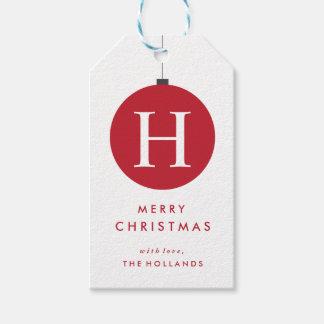Le cadeau de boule de Noël de monogramme étiquette