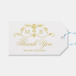 Le cadeau de faveur de mariage d'or étiquette