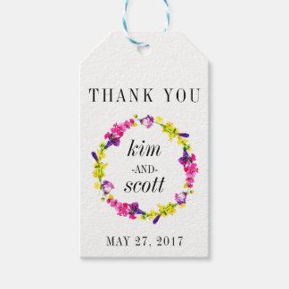 Le cadeau de MERCI étiquette la guirlande florale