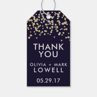 Le cadeau de MERCI étiquette l'or de confettis de