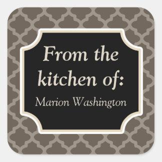 Le cadeau rustique de cuisine de Brown étiquette Sticker Carré