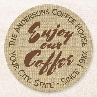 """Le café nom """"apprécient notre café"""" dessous-de-verre rond en papier"""