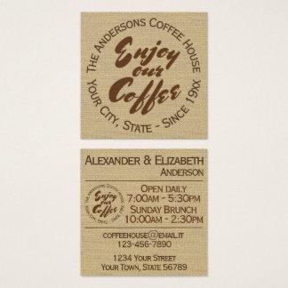 """Le café-restaurant """"apprécient notre café """" carte de visite carré"""