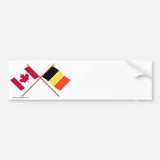 Le Canada et les drapeaux croisés par Belgique Autocollant De Voiture