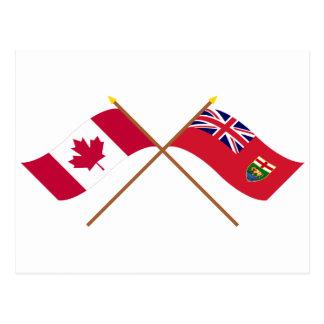 Le Canada et les drapeaux croisés par Manitoba Carte Postale