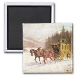 Le car de courrier dans la neige aimants