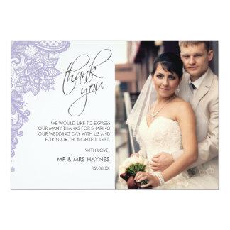 Le carte de remerciements de mariage, lacent la