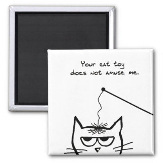 Le chat fâché ne s'amuse pas par votre jouet de magnet carré