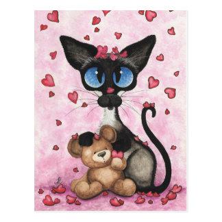 Le chat siamois Valentine soit le mien ours par Carte Postale
