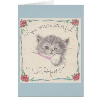 Le chaton vintage obtiennent la carte bonne