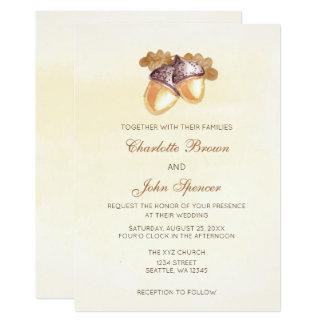 le chêne de glands d'aquarelle part du mariage de carton d'invitation  12,7 cm x 17,78 cm