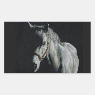 Le cheval argenté dans les ombres sticker rectangulaire