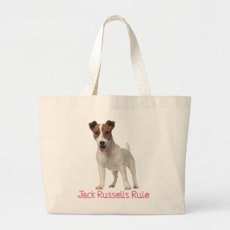 Le chiot de Jack Russell Terrier ordonne Brown et Grand Tote Bag