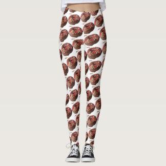 Le chocolat de pantalon de yoga arrosent le motif leggings
