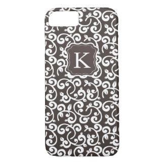 Le chocolat floral de monogramme Girly, changent Coque iPhone 7
