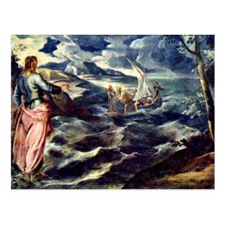 Le Christ sur la mer de la Galilée par Tintoretto Carte Postale