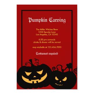 Le citrouille de Halloween fait face à Carton D'invitation 12,7 Cm X 17,78 Cm