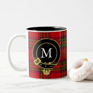 Le clan écossais Crest le tartan de monogramme Tasse 2 Couleurs