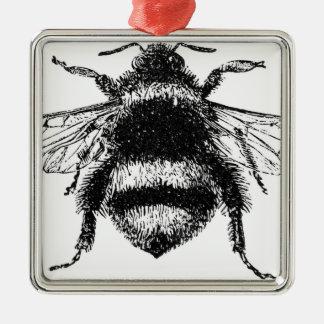 Le classique gaffent l'abeille ornement carré argenté