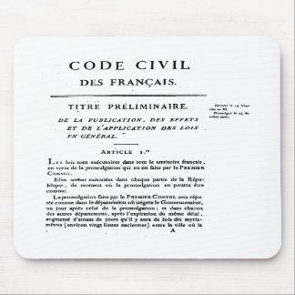 Le code civil de la ?ère page de la France a impri Tapis De Souris