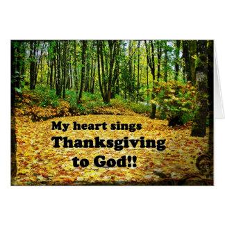 Le coeur chante la carte de thanksgiving