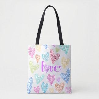 Le coeur d'amour griffonne le sac fourre-tout à la