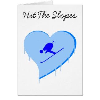 Le coeur de glace de skieur, a frappé la carte de