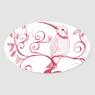 Le coeur du colibri sticker ovale
