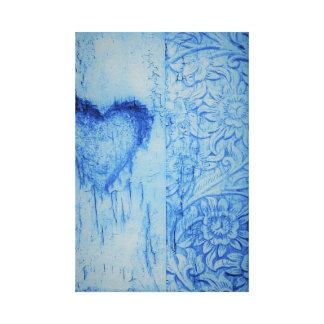 Le coeur mignon bleu et la toile étirée par fleurs