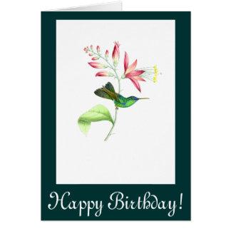 Le colibri fleurit la carte d'anniversaire
