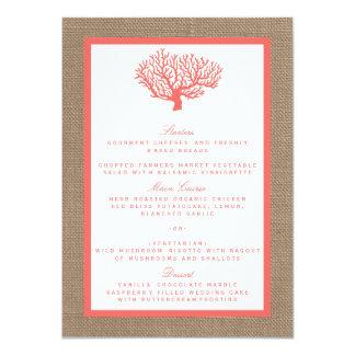 Le corail sur la collection de mariage de plage de carton d'invitation  11,43 cm x 15,87 cm