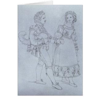 Le costume conçoit Figaro et Susanna d'opéra Carte De Vœux