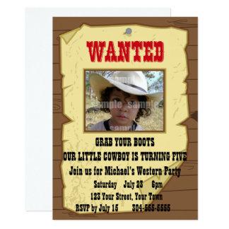 Le cowboy a voulu la fête d'anniversaire d'affiche carton d'invitation  12,7 cm x 17,78 cm