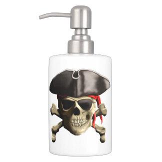 Le crâne de pirate de jolly roger distributeurs de savon