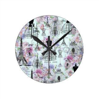Le cru barre le rose de collage de Tour Eiffel Horloge Ronde
