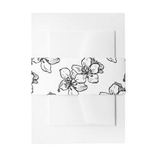 Le cru fleurit mariage floral noir et blanc de | bandeau de faire-part