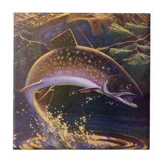 Le cru folâtre la pêche de poissons de truite, petit carreau carré