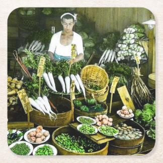Le cru japonais de récolte d'automne du marché dessous-de-verre carré en papier