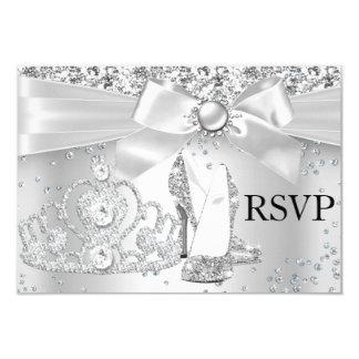 Le diadème d'étincelle gîte le bonbon argenté 16 carton d'invitation 8,89 cm x 12,70 cm