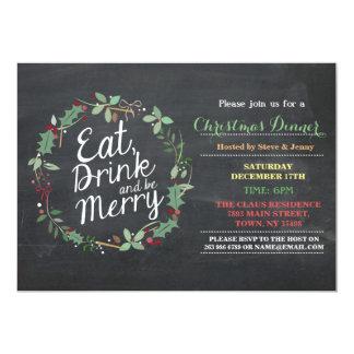 Le dîner de Noël mangent la boisson et soient Carton D'invitation 12,7 Cm X 17,78 Cm