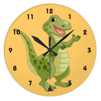 Le dinosaure badine l'horloge murale grande horloge ronde
