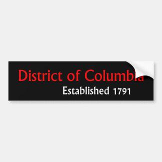 Le District de Columbia A établi l'adhésif pour Autocollant De Voiture