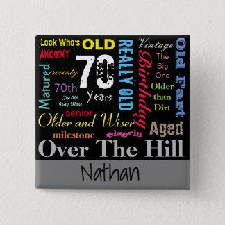 Le do-it-yourself vieillissent la soixante-dixième badge carré 5 cm