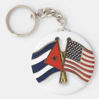 Le drapeau cubain et le drapeau américain porte-clé rond