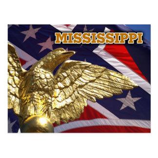 Le drapeau d'état du Mississippi et l'aigle d'or Carte Postale