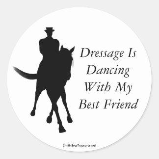 Le dressage danse l'autocollant de cheval de sticker rond