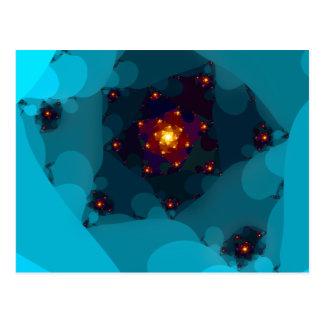 Le feu de glace. Bleu de la fractale art. Carte Postale