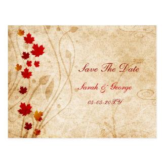 le feuille de brun d'automne de chute fait gagner  carte postale